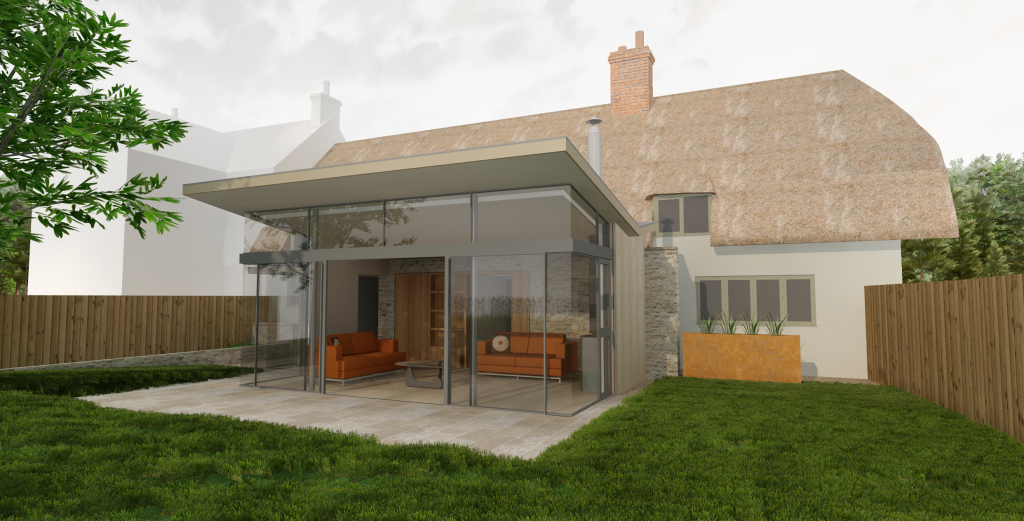 modern extension to a Listed, Grade II thatched cottage, estimated build cost of £150,000 inc. VAT